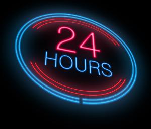 24 hour marijuana sign