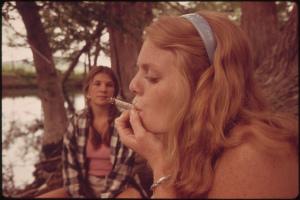 redhead smoking cannabis