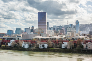 Rainy Portland Oregon Skyline