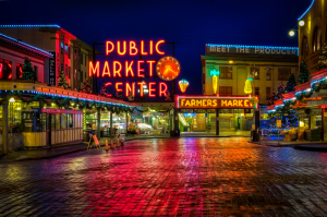 Seattle Pike Place Market at Night