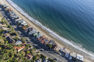 Aerial View Beachfront Houses in California