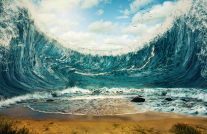 Mountain of Waves Above Sand